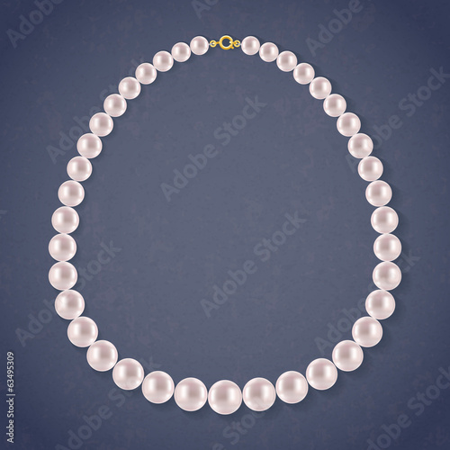 Round Pearls Necklace on dark background.