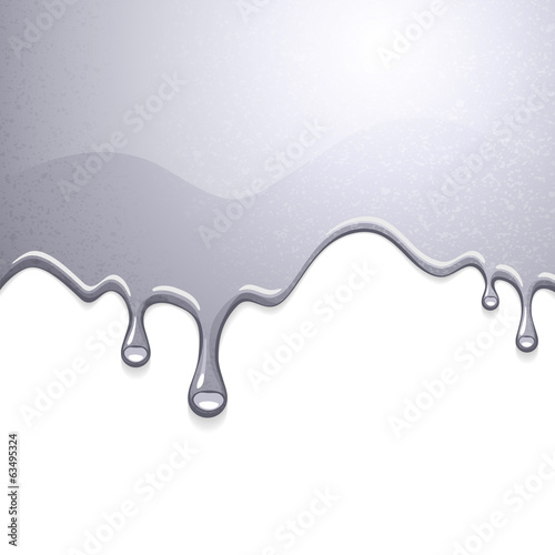 Drips of silver shiny liquid. Melting background.
