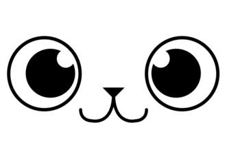 Cartoon Adorable Animal Face Isolated On White Background