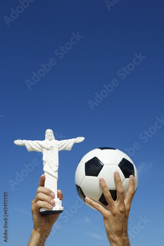 Brazilian Hands Holding Soccer Ball Football Christ Statue