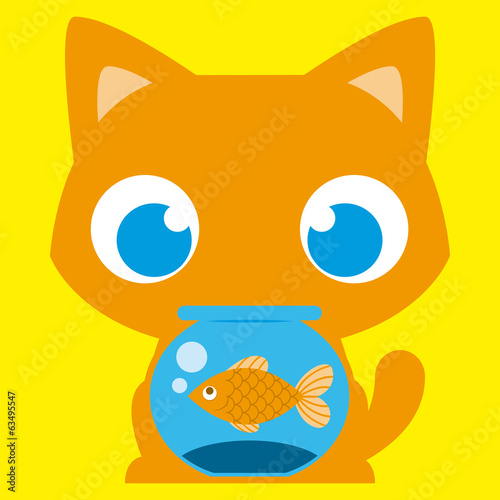 Cartoon Adorable Cat With A Fish In A Fishbowl