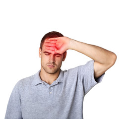sick man touching his head with a hand