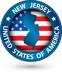 New Jersey state blue label with state map, vector illustration