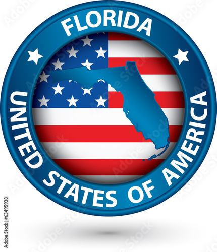 Florida state blue label with state map, vector illustration