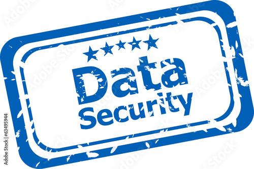 data security on rubber stamp over a white background