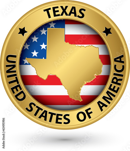 Texas state gold label with state map, vector illustration