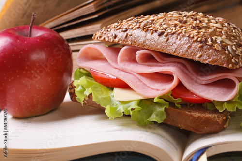School lunch: a ham sandwich and an apple on open notebook