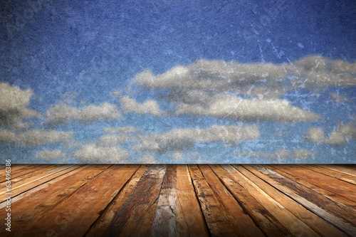 abstract scratched backdrop with wood terrace