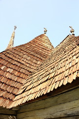 view of traditional church roof