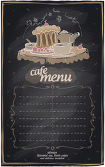 Chalk cafe menu with cake.
