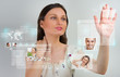 Young pretty woman using social media virtual interface