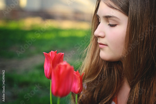profile cute girl child teenager spring flowers