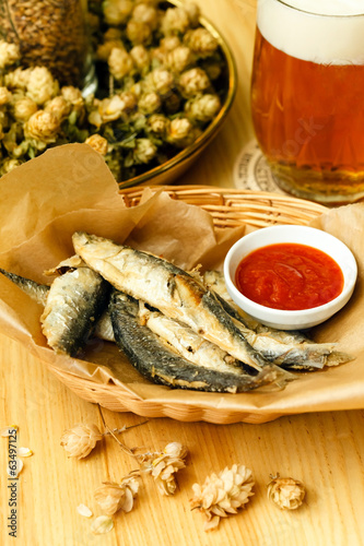 fried fish with beer