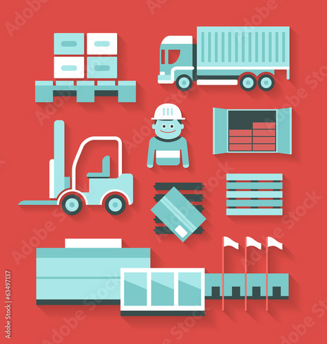 Flat icons of distribution and logistics