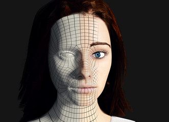 3D Computer generated portrait of a young woman