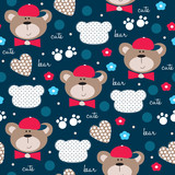 cute teddy bear pattern vector illustration