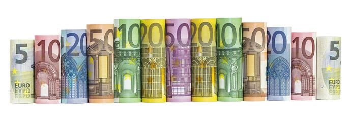 Euro Money Banknotes isolated on white background