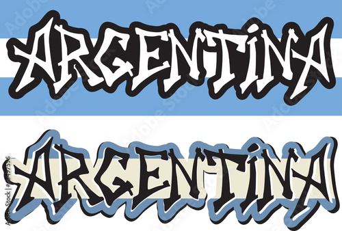 Argentina word graffiti different style. Vector