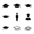 Vector black academic cap icons set - 63497770