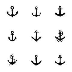 Vector black anchor icons set