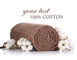 Rolled towel with branches of cotton