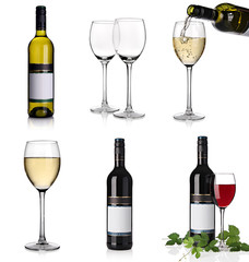 Alcoholic drinks collage with red and white wine