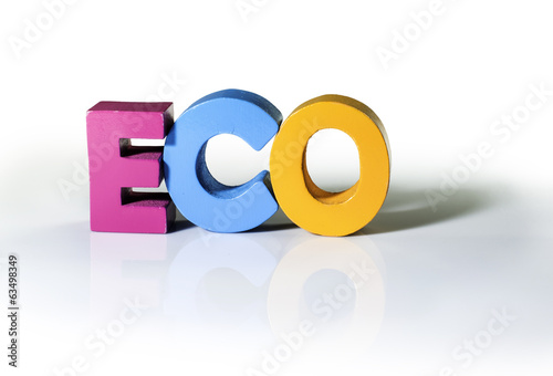 Multicolored word eco made of wood.