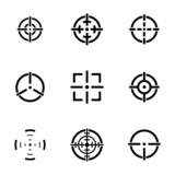 Vector balck crosshair icons set