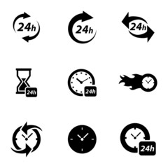 Vector black clock icons set