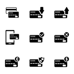 Vector black credit card icons set