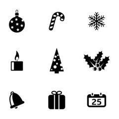 Vector black cristmas icons set