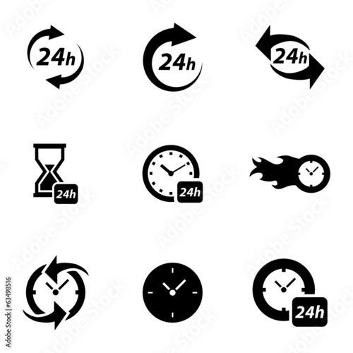 Vector black clock icons set