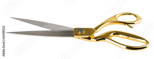 golden scissors on white background - 63498522