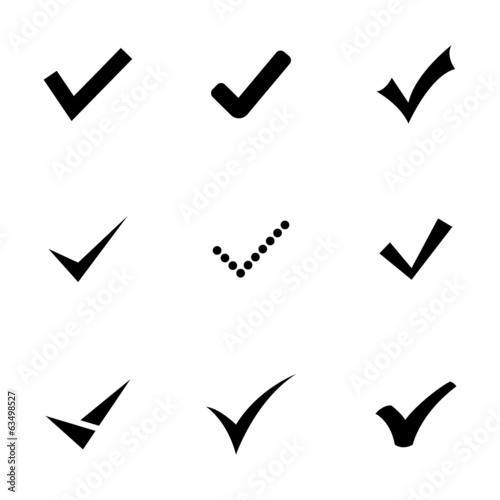 Wektor czarny potwierdzić zestaw ikon