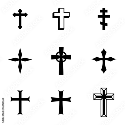 Vector black christia crosses icons set