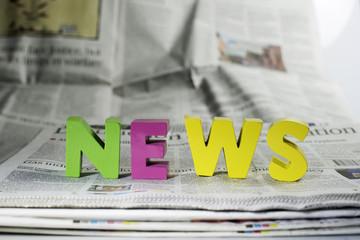 Word news on newspaper