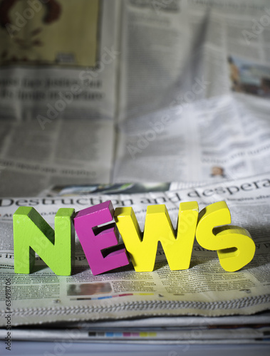 Word news on newspaper