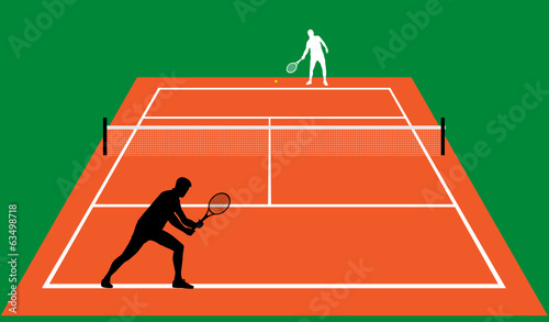 tennis match on clay