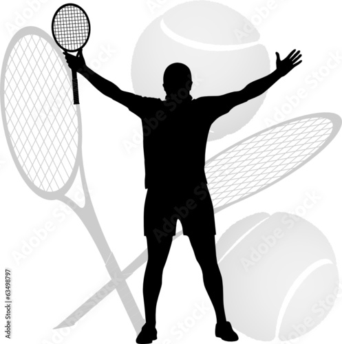 tennis winner raised his hands and racket in the air