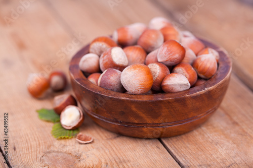Hazelnuts on a wooden table