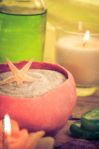 Oil massage aromatic candles stones Zen