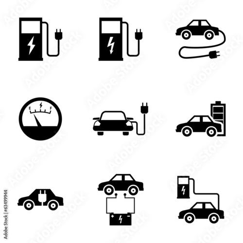 Vector black electric car icons set - 63499944