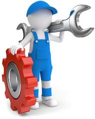 Handwerker mit Zahnrad Gabelschlüssel
