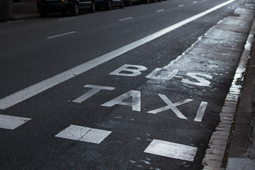 Inscriptions taxi and bus on the roadway