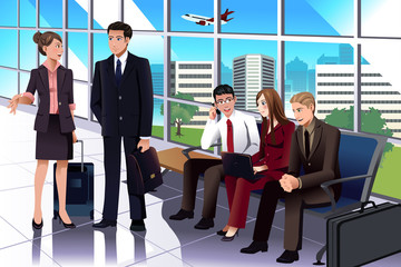 Business people waiting in the airport