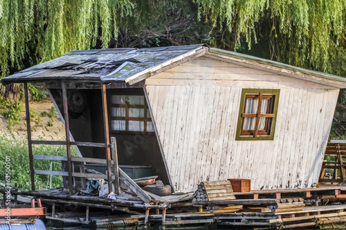 Old Weathered Wooden White Summer Leisure Raft Hut On Sava River