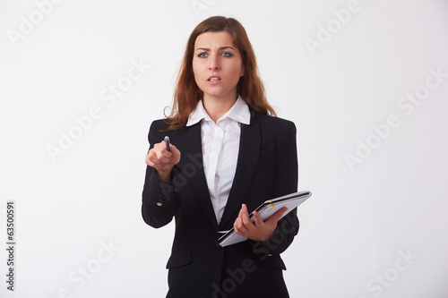 woman in business clothing with documents