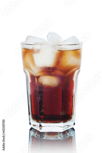 Cola with ice isolated on white