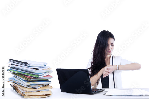 Bored businesswoman isolated