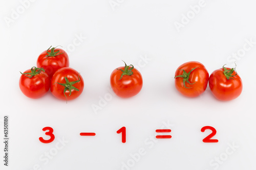 red tomatoes and numbers